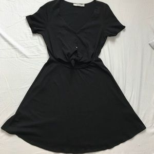 Skater sun dress with button front tie knot